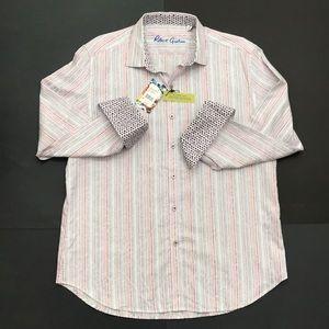 Robert Graham Men's L White striped Long Slv Shirt